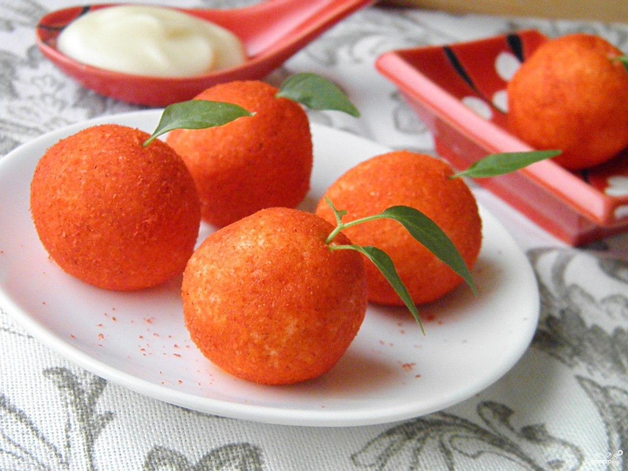 «Мандаринки» — красиво и вкусно, новогодняя сырная закуска