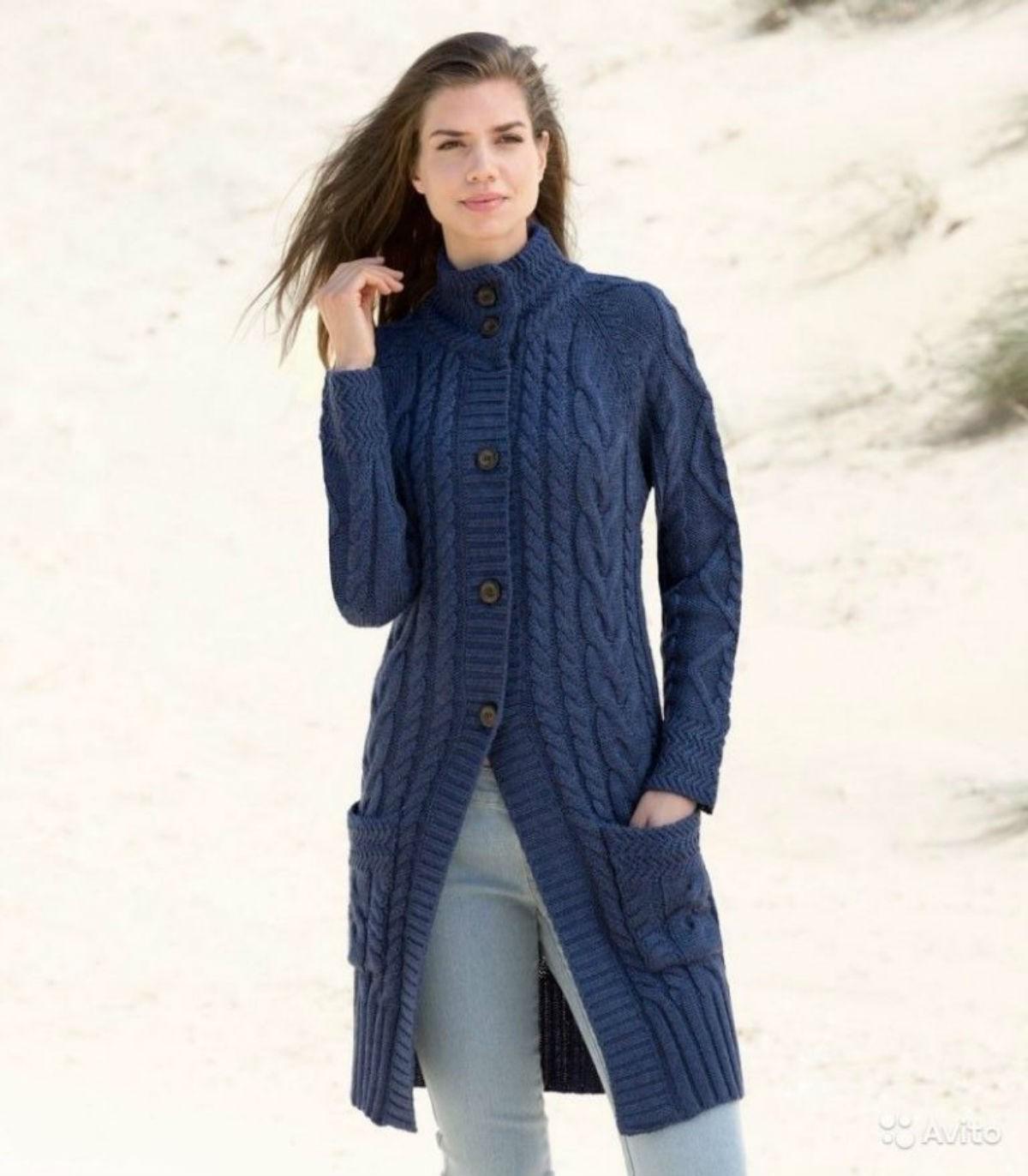 Вязаное пальто сезона 2018-2019 — модные фасоны и декоративные элементы