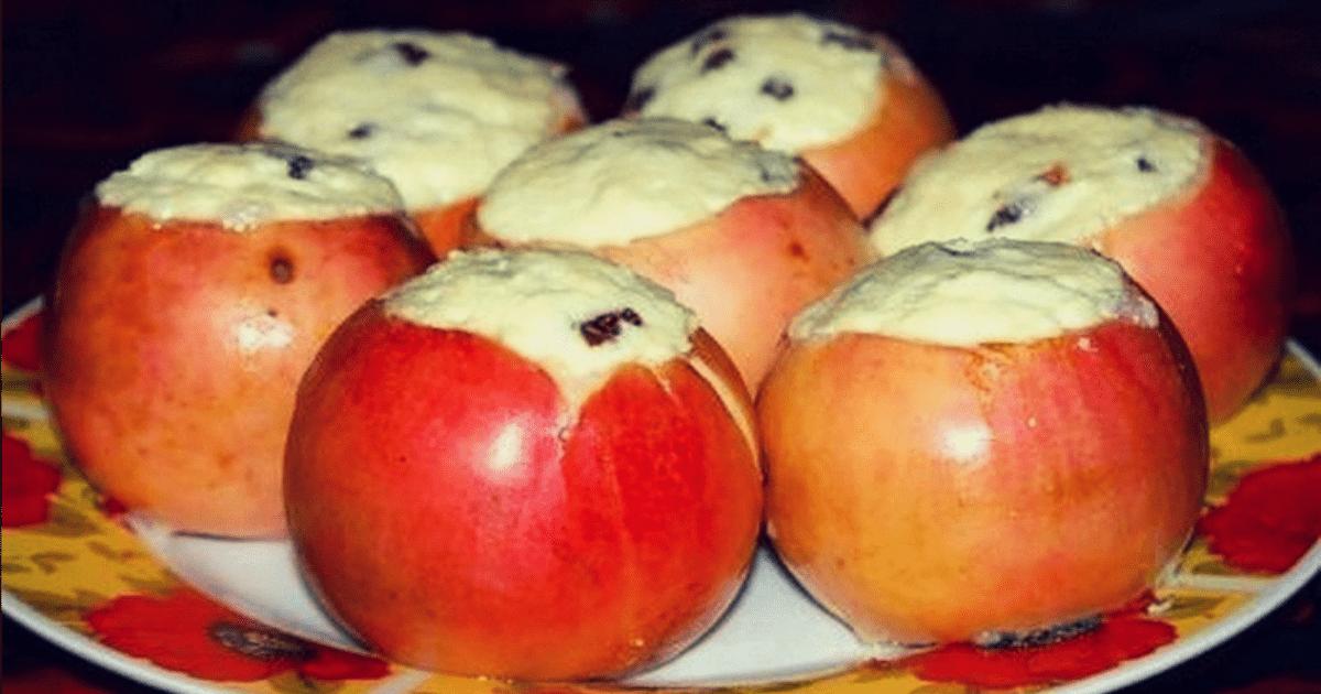 Низкокалорийный десерт «яблоки с творогом»